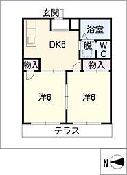コーポ賀智里[1階]の間取り