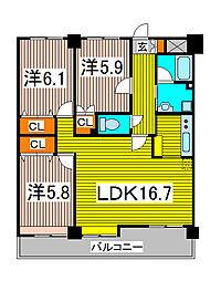 パークサイドハイツタケノヤ[7階]の間取り