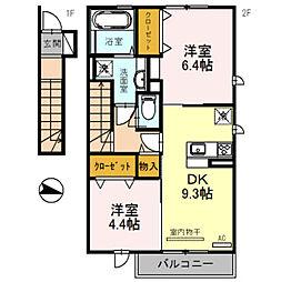 兵庫県三木市福井の賃貸アパートの間取り