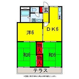 パークサイドハイツ1号[2階]の間取り