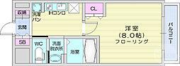 フォレスト・ヒル仙台青葉 4階1Kの間取り