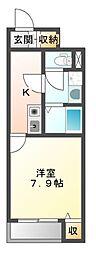JR赤穂線 西大寺駅 徒歩9分の賃貸アパート 2階1Kの間取り