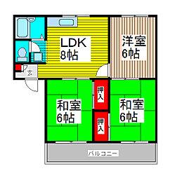 クリスタル浦和[3階]の間取り