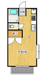 中久保1丁目 1K アパート[2階]の間取り