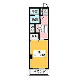 仮称 大喜新町2丁目共同住宅 2階1DKの間取り