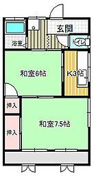 守屋アパート[203号室]の間取り