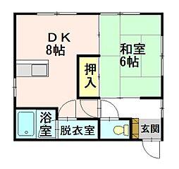 大建アパート 2階1DKの間取り