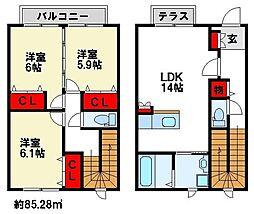 ロータスD 2階3LDKの間取り