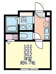 グラシア南太田[3階]の間取り