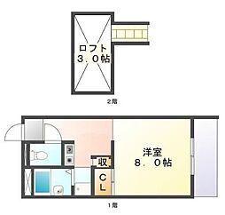 広島県福山市高西町南の賃貸アパートの間取り
