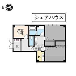 京阪本線 藤森駅 徒歩4分の賃貸マンション 1階ワンルームの間取り