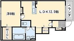 南海線 春木駅 徒歩13分の賃貸アパート 1階1LDKの間取り