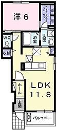 ドゥ エスポワール 1階1LDKの間取り