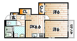 福岡県遠賀郡水巻町二東1の賃貸アパートの間取り