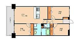 アルファスマート福岡東 5階3LDKの間取り