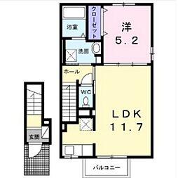 JR山陽本線 庭瀬駅 徒歩14分の賃貸アパート 2階1LDKの間取り