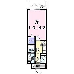 阪急千里線 南千里駅 徒歩13分の賃貸マンション 3階1Kの間取り