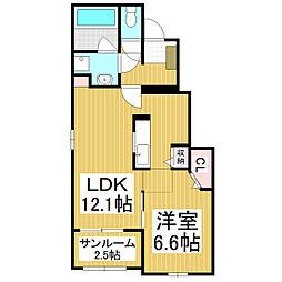 JR中央本線 川岸駅 徒歩12分の賃貸アパート 1階1LDKの間取り