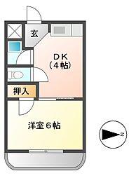七福コーポ[4階]の間取り