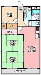 兵庫県神戸市北区有野中町2丁目の賃貸マンションの間取り