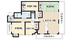 愛知県名古屋市守山区四軒家2丁目の賃貸マンションの間取り