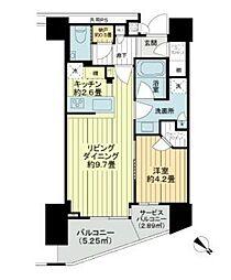 ブリリアザ・タワー東京八重洲アベニュー 22階1LDKの間取り