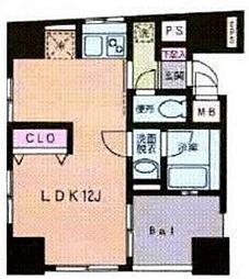 東京メトロ有楽町線 江戸川橋駅 徒歩4分の賃貸マンション 4階ワンルームの間取り