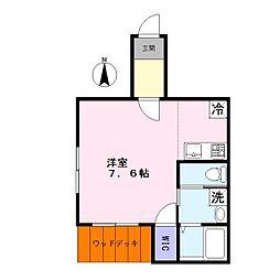 アリエス 南欧風テラスハウス 1階1Kの間取り