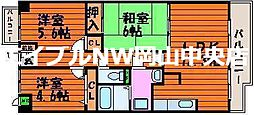 岡山県岡山市中区中井の賃貸マンションの間取り