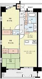 広島県広島市中区三川町の賃貸マンションの間取り