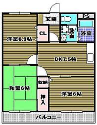 グリーンパークサコン3[2階]の間取り