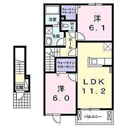 岡山県赤磐市桜が丘東5丁目の賃貸アパートの間取り