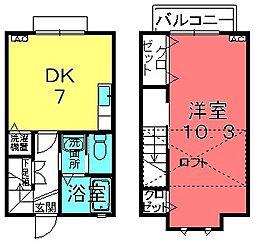 滋賀県栗東市川辺の賃貸アパートの間取り