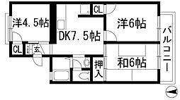 兵庫県宝塚市安倉中4丁目の賃貸アパートの間取り