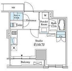 JR山手線 田町駅 徒歩13分の賃貸マンション 6階ワンルームの間取り