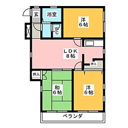 メゾンダムール正城[3階]の間取り