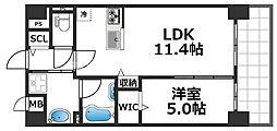 グランパシフィック花園Luxe 7階1LDKの間取り