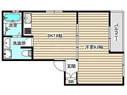野田3丁目共同住宅 3階1DKの間取り