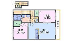 ジャルディーノ・ア・カーサ[2階]の間取り