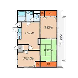 近鉄大阪線 桜井駅 徒歩6分の賃貸マンション 3階3LDKの間取り