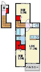 福岡県北九州市八幡西区陣原2丁目の賃貸アパートの間取り