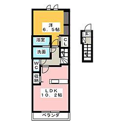 静岡県静岡市清水区庵原町の賃貸アパートの間取り