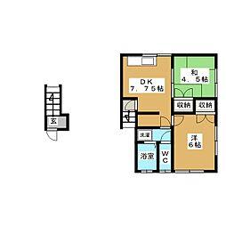 ハイツハーティエストII[2階]の間取り
