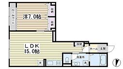 サウサリート3[1階]の間取り