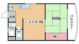 大阪府吹田市千里山西6丁目の賃貸マンションの間取り