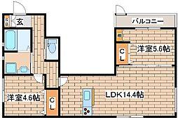 阪急神戸本線 六甲駅 徒歩7分の賃貸アパート 1階2LDKの間取り