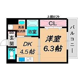 Osaka Metro今里筋線 清水駅 徒歩4分の賃貸マンション 4階1DKの間取り