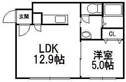北海道札幌市豊平区美園七条1丁目の賃貸マンションの間取り