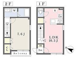 (仮)川口市東本郷計画 1階1LDKの間取り