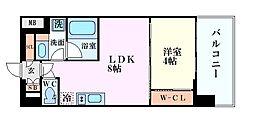 Osaka Metro御堂筋線 中津駅 徒歩10分の賃貸マンション 8階1LDKの間取り